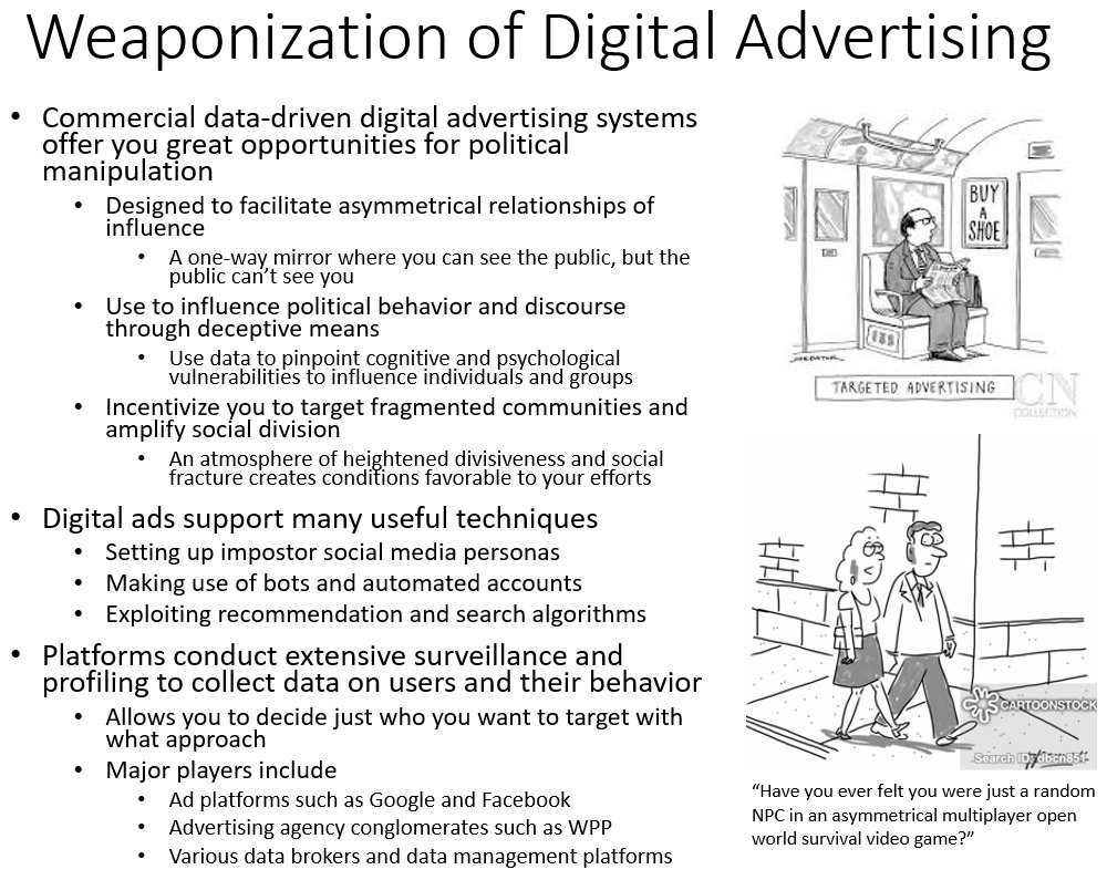 #disinformation  101 - Political Campaigns #9. This series provides a practical introduction to creating effective propaganda and disinformation in the modern information environment @GLOBSEC @DisinfoIndex @EUvsDisinfo @DisinfoPortal @Europarl_EN @StopFakingNews @DFRLab https://t.co/fqewpDeSMW