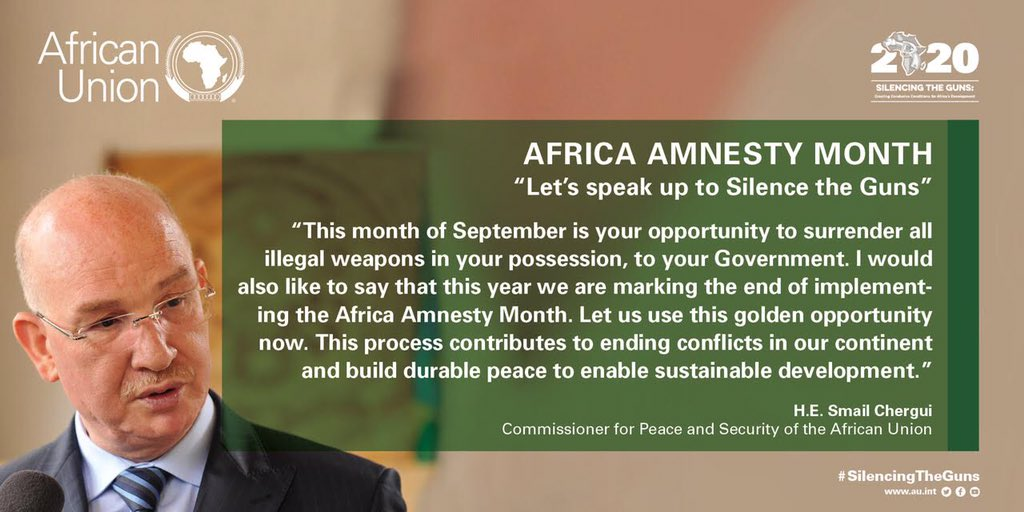 """This month of September is your opportunity to surrender all illegal weapons in your possession, to your government..."" - H.E. @AU_Chergui   #AfricaAmnestyMonth #silencingtheguns #CivilianAmnesty #IllegalWeapons #AAM https://t.co/ir3GaqhTF1"
