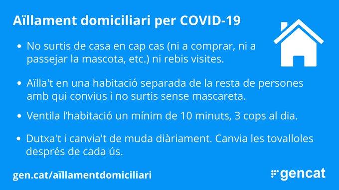🔴Si ets positiu de COVID19, en tens símptomes i encara no saps el resultat o has estat en contacte estret amb un cas confirmat, cal que facis #aïllament domicilari. ▶️Segueix els consells de @salutcat 👇 #FrenemLaCorba #QuedatACasa #cuida't #cuidem-nos https://t.co/HQnSowaPih
