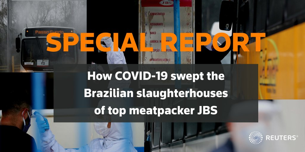 When the coronavirus hit in early 2020, the incentive by top meatpacker JBS to keep its Brazil plants running was high. Some of its plants there have now been linked to community spread https://t.co/bv3YIYcY7Q https://t.co/qT7o7lm419