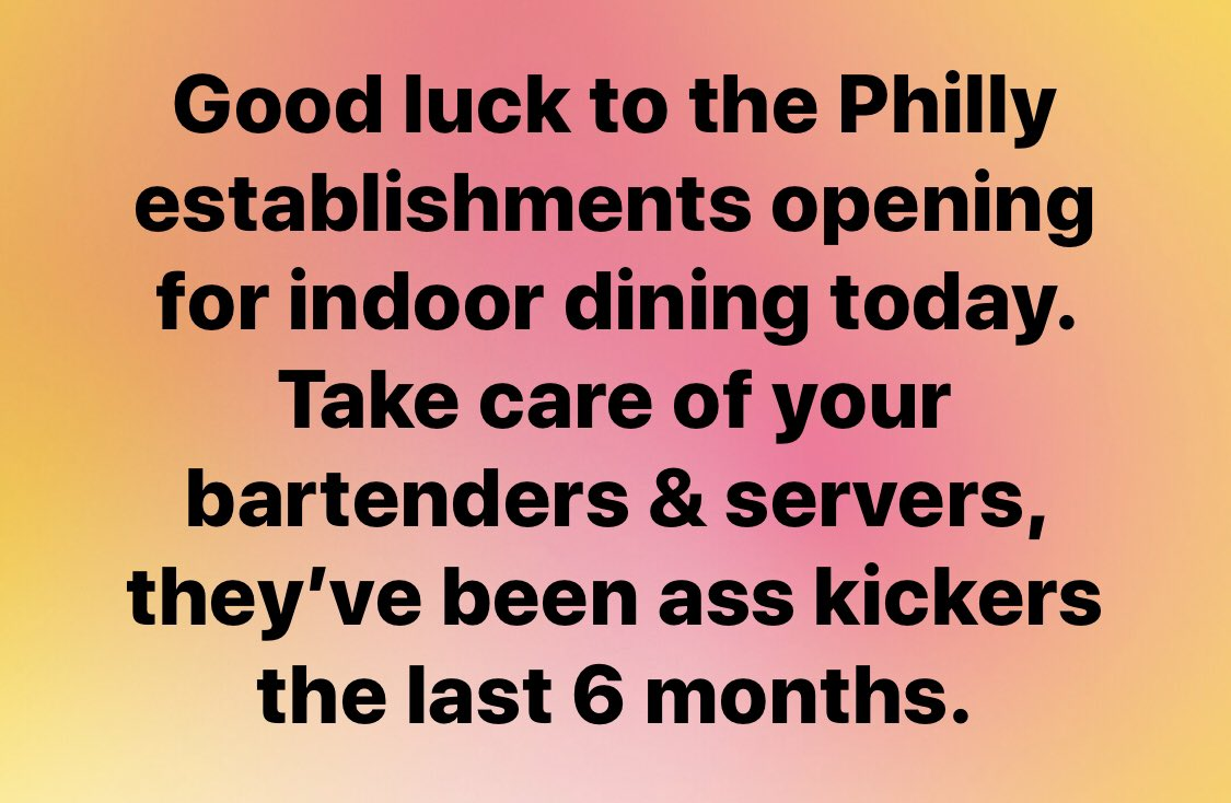 #Philly #indoordining #bartenders #waiters #waitresses https://t.co/gxYAlqOqSr