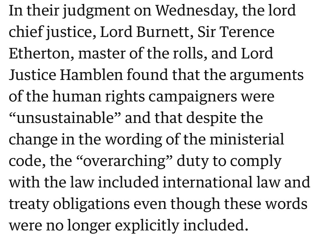 The Ministerial Code still mandates compliance with international law, despite a change to its wording, as the Court of Appeal confirmed in 2018: https://t.co/EELAJ7i5gi https://t.co/Q41tvvPhKL