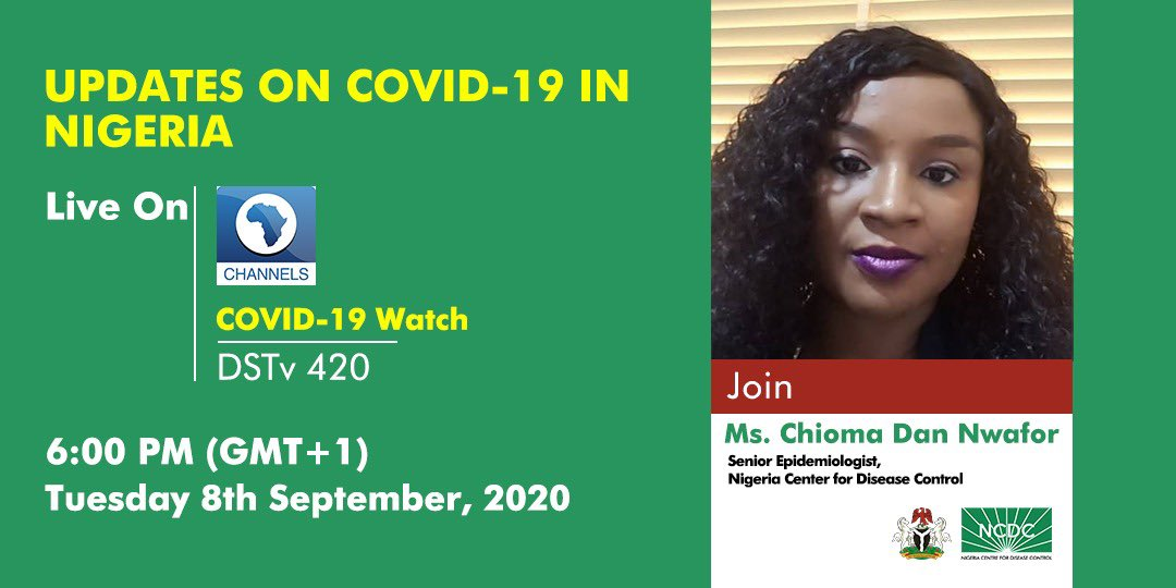 📢 COMING UP!!! 📺 This evening on #COVID19Watch with @millionscents, our Senior Epidemiologist @chiomadannwafor will be live to discuss the latest updates on Nigeria's response to the pandemic. Tune to @channelstv at 6pm to join. #TakeResponsibility