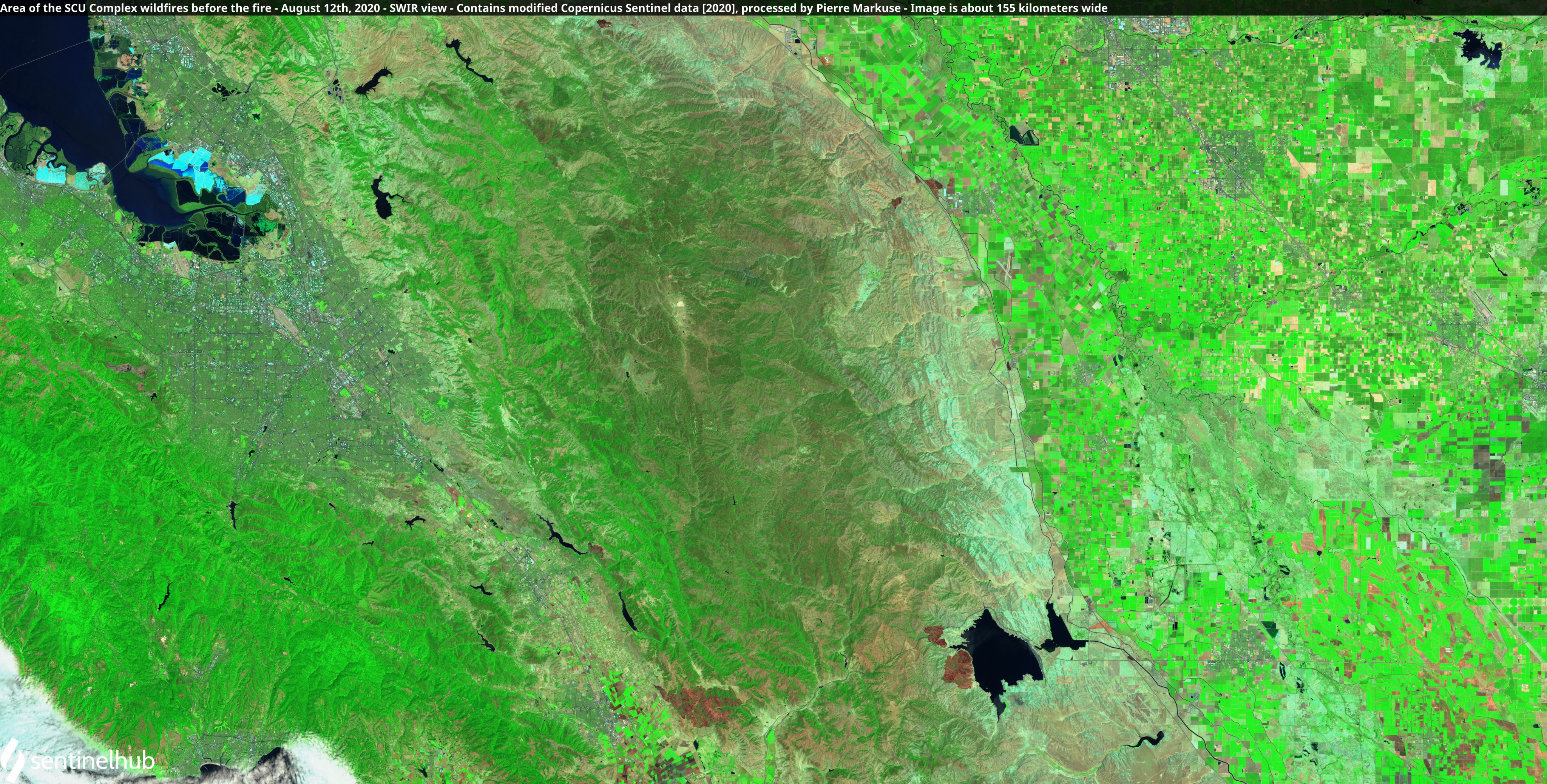Satellite image of the area of the SCU Lightning Complex fires before the fire. Copernicus/Pierre Markuse