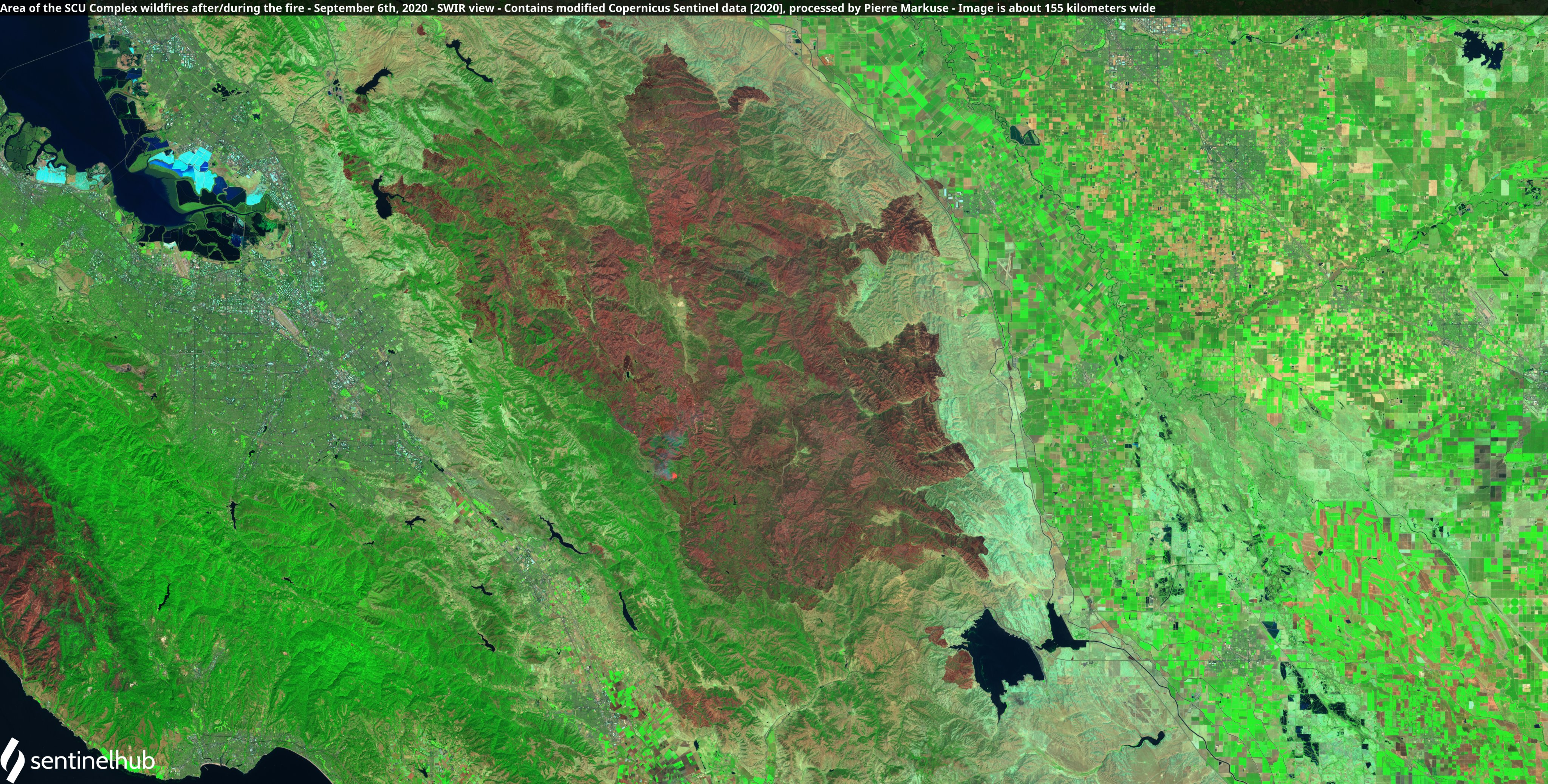 Satellite image of the area of the SCU Lightning Complex fires after/during the fire. Copernicus/Pierre Markuse