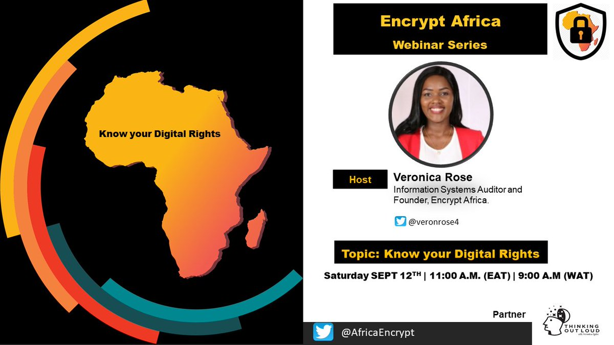 Official Launch of Encrypt Africa with a #Webinar themed: Know Your #DigitalRights.  Host: Veronica Rose, CISA - Founder, Encrypt Africa.   Date: Saturday, September 12, 2020  Time: 9:00 A.M (WAT) | 11:00 A.M (EAT)  #digitalrights #childsafetyonline @InfoKfcb https://t.co/dGR0oZk58S