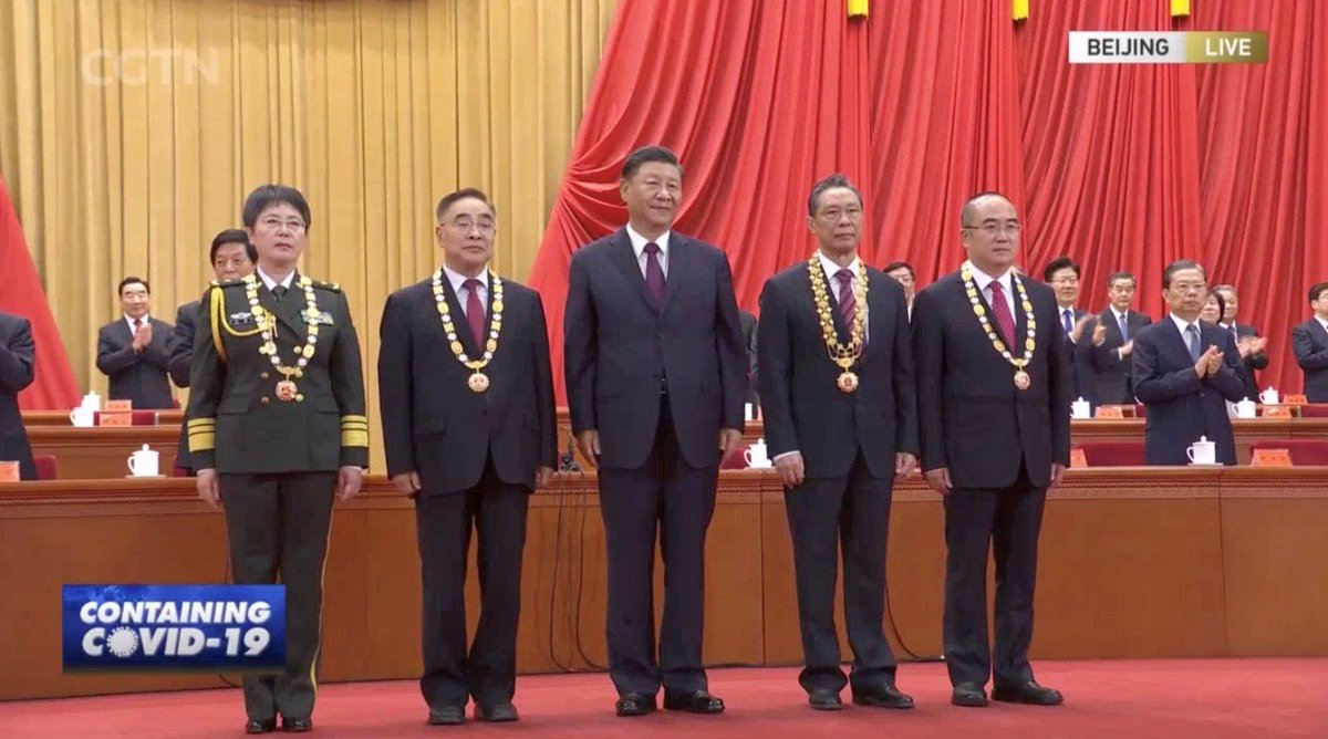 "The most renowned respiratory disease expert Dr Zhong Nanshan was conferred the #MedalOfTheRepublic. Dr Zhang Boli, Zhang Dingyu, and Chen Wei were conferred the national honorary title ""the People's Hero"" for their contribution to the fight against #COVID19. https://t.co/uMZOd09HV8"
