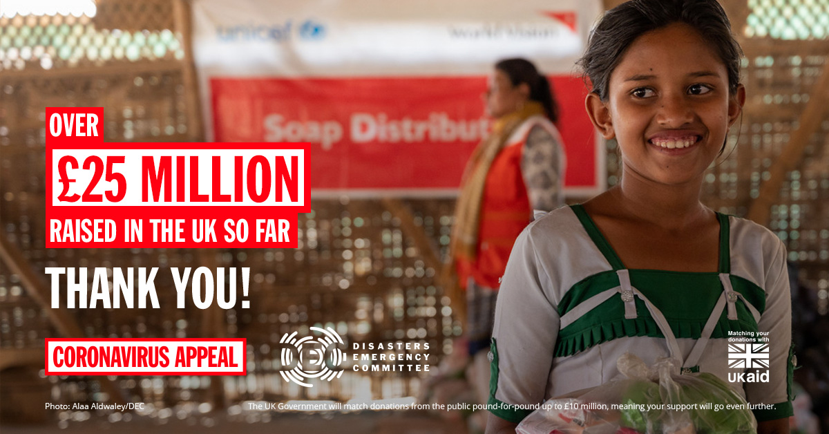Our Coronavirus Appeal has now raised more than £25 million! Thank you so much to all who have donated! DEC charities are putting your contributions to work to help people in refugee camps and fragile states protect themselves from Covid-19. Thank you! #DECappeal