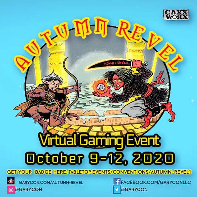Join me for Autumn Revel October 9-12th.  We will be streaming epic adventures, gathering ethereally to game across the globe and helping raise money for charity.  Get your badge link in bio. #autumnrevel #garycon #dungeonsanddragons #extralife #adventurersleague #tabletopr https://t.co/89G6MadLLB