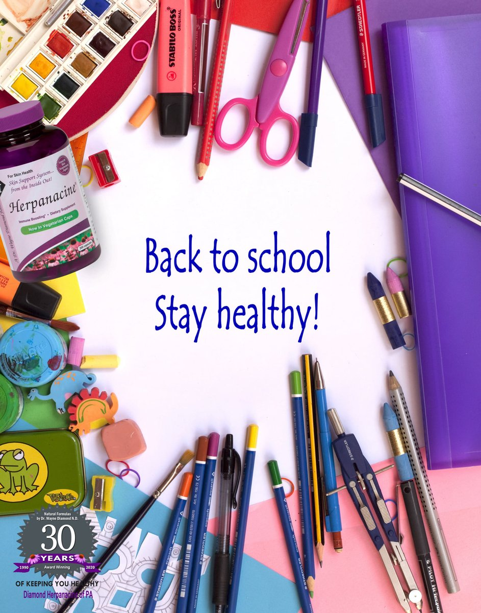 It's back to school time! Wishing everyone a healthy, safe and productive school year whether it be in person or online. #ImmuneSupport #ClearSkin #Herpanacine https://t.co/TXLBNJyhFD