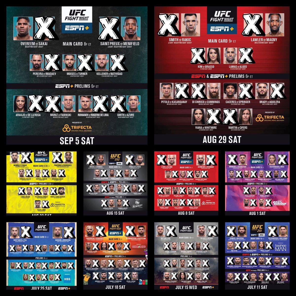 💰2020 #FightPick record:   • Overall: (174-113) | 60.63%  - Main Card: (74-64) | 53.62% - Prelims: (92-40) | 69.70% - Early Prelims: (8-9) | 47.06%   2️⃣ Draws:  • #UFCBrasilia  • #UFCVegas5  1️⃣ No Contest: #UFC247 https://t.co/MkReCf2xxv
