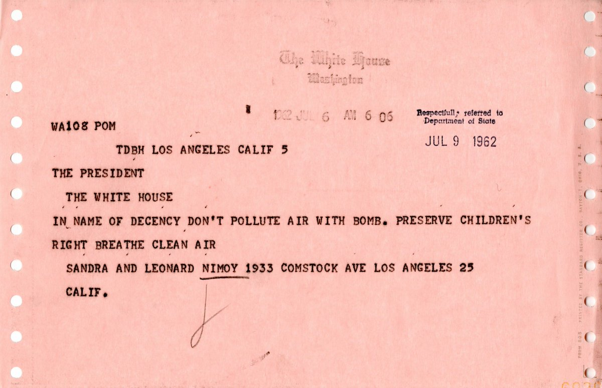 Happy 54th anniversary, Star Trek! Leonard Nimoy, who played the original Spock, wrote to JFK in 1962 asking for a safer planet. #StarTrekDay https://t.co/7rmzCMLnAI