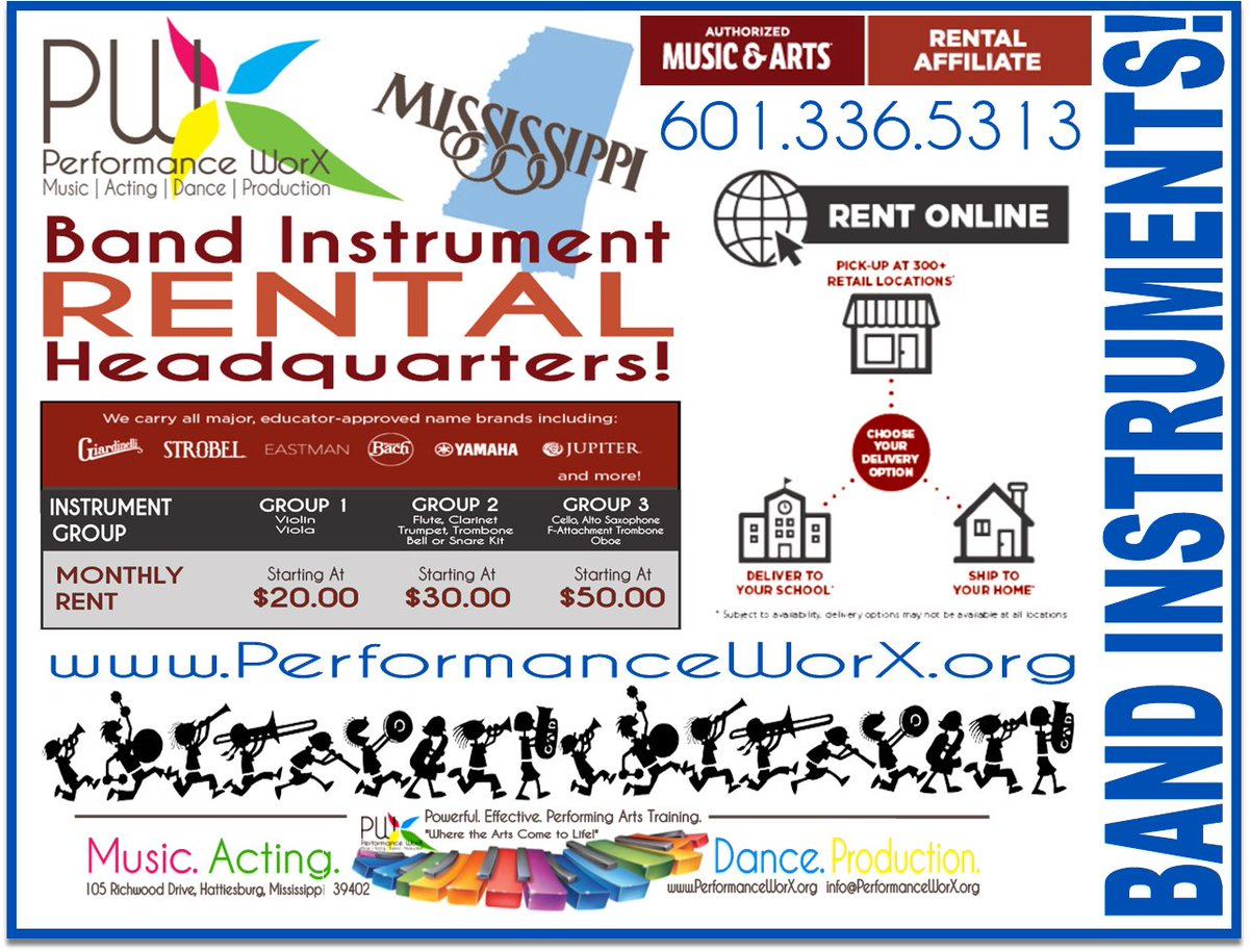 DO NOT RENT OR BUY BAND INSTRUMENTS. . . until you shop with Performance WorX!  BEST RENTAL PRICES & REPAIR SERVICE IN THE BUSINESS!  Call 601.336.5313 or go to https://t.co/msNCMHUuZV! #marchingband #banddirectors #schoolbands #bandinstruments #stringinstruments https://t.co/gsKKf9fbHx