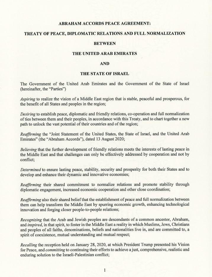 #Breaking: Text of #AbrahamAccord between UAE and Israel as published by White House 1/2 https://t.co/dqJnMrDAKn