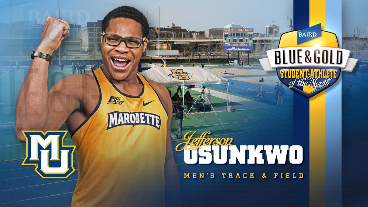 .@MUTFXCs Jefferson Osunkwo is the @rwbaird 💙💛 Student-Athlete of the Month for September. @MarqSAAC #WeAreMarquette 👉 bit.ly/2DrrvAp