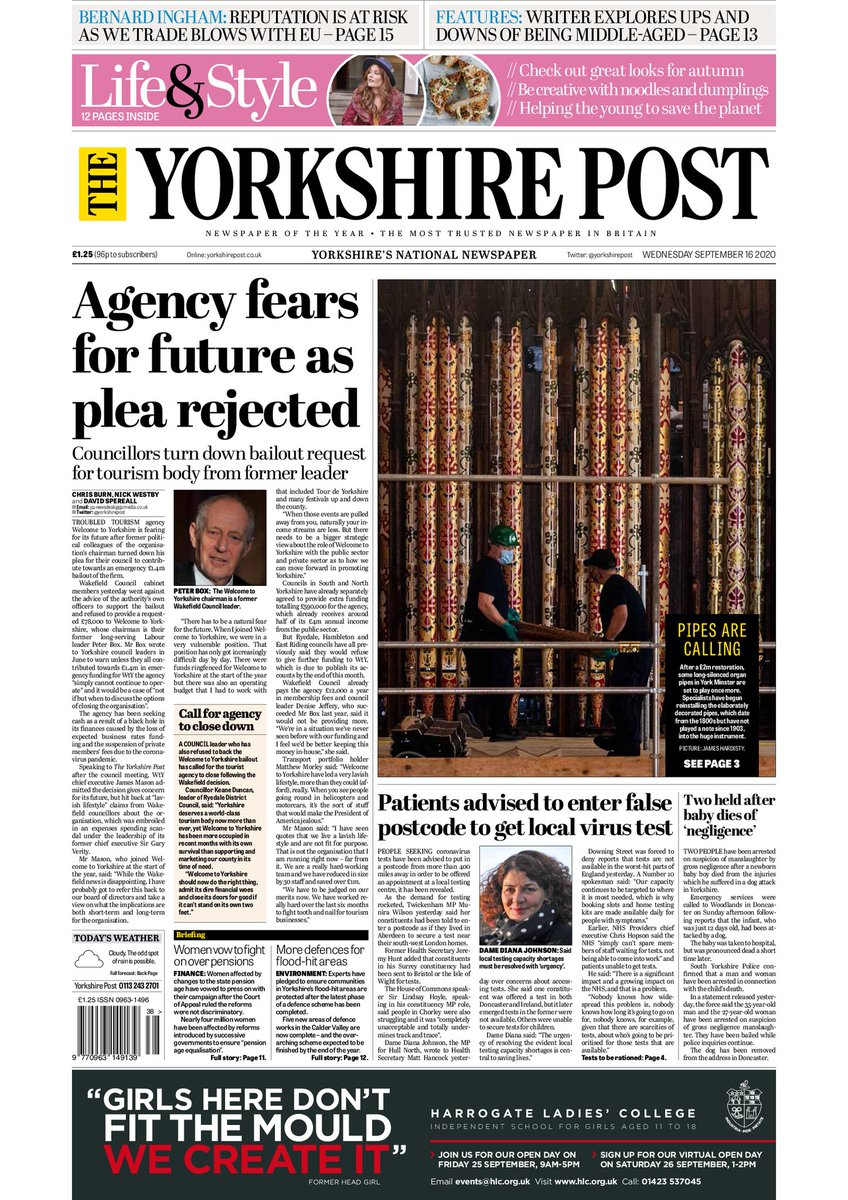 Tomorrows p1: councillors strangle new tourism ideas and hamstring fresh leadership. *Councillors allowed previous tourism leadership to run amok, but appears to be trying to compensate for their previous inadequacies by depriving Yorkshire of genuine passion and commitment.