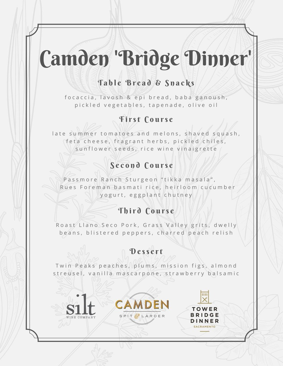 Enjoy a mini bridge dinner at Camden Spit & Larder! Located just steps away from the iconic bridge, enjoy a tasty dinner on the spacious patio as you celebrate and appreciate our region's bounty. Tickets are limited ➡️ https://t.co/4FshnLtYCZ @SacFarm2Fork @VisitSacramento https://t.co/kpPERcJZhf