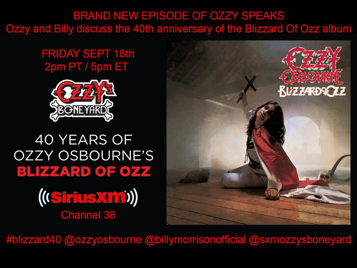 This Friday on @OzzysBoneyard - @OzzyOsbourne and myself discuss the incredible 40 year anniversary of one of the most seminal rock albums ever made. #Blizzard40 2pm PT / 5pm ET @SIRIUSXM CHANNEL 38 https://t.co/opHoZ8m15V