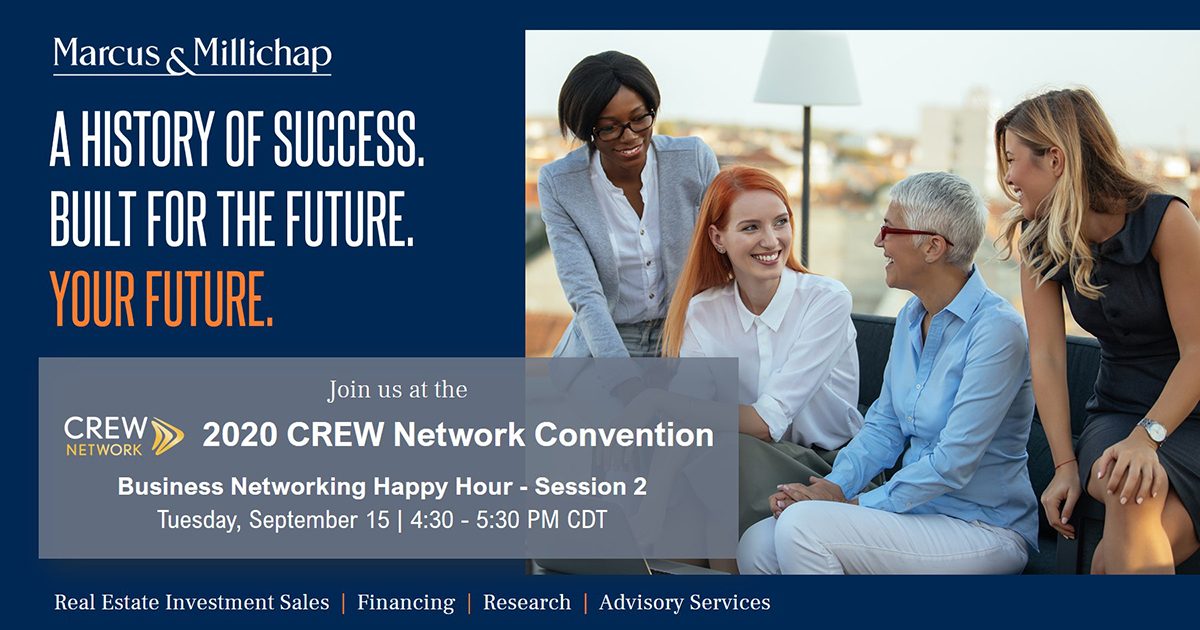 Marcus & Millichap is a proud Premier Lead sponsor of the 2020 CREW Network Virtual Convention https://t.co/hIZYKuM947! Join us at the Business Networking Happy Hour - Session 2 and find out why you should join our growing team and build your career with us.  #CRE #crewconvention https://t.co/gkQePLLqk3