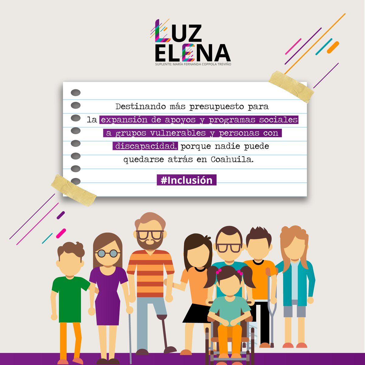 Desde el Congreso del Estado exigiremos la inclusión y el reconocimiento a los grupos vulnerables y personas con discapacidad, destinando más presupuesto para la expansión de apoyos y programas sociales. ¡Vamos con todo para #SeguirSeguros en #Coahuila! #SaldremosAdelante https://t.co/hoZXAWlVsw