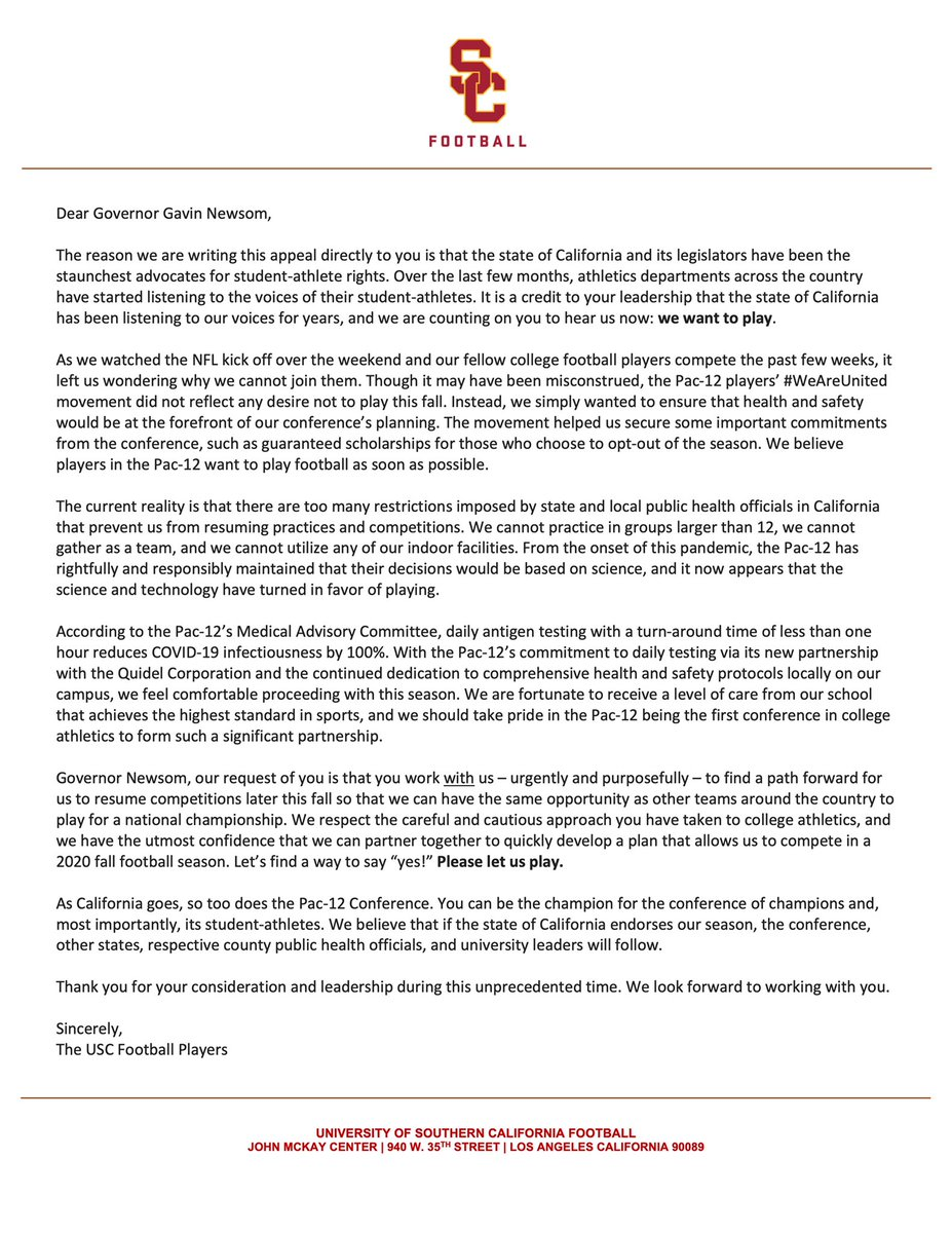 Dear @GavinNewsom , Please let us play. We want a chance Thank you #LetUsPlay