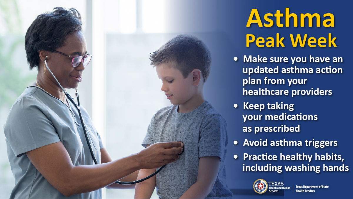 Asthma peak week starts mid-September. Around this time there is a spike of ragweed pollen, mold, and dust in the air. Use these precautions to protect yourself from asthma attacks. #AsthmaPeakWeek #Texas