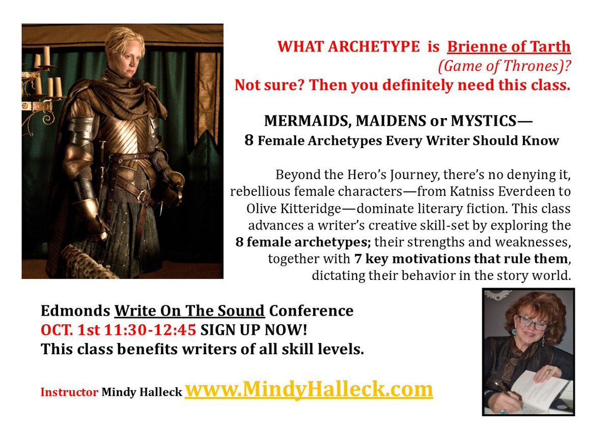 #WRITERS! What #archetype is #brienne of #GOT?   Sign up 4 my class, MERMAIDS, MAIDENS or MYSTICS— 8 Female Archetypes Every Writer Should Know https://t.co/PQJSYbaUWl  Sessions R ala carte, ave $20 each. @WriteOnTheSound #amwriting #WritingCommunity #writerscommunity https://t.co/Xe4zF7pJj5
