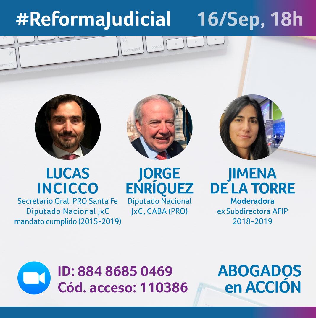Los invito a participar del evento zoom que compartiré mañana Miércoles, a las 18h, junto a @Lucas_Incicco y @JimenadelaTorr6. Tema: #ReformaJudicial   👉 https://t.co/lYvaJDwnVN  🆔 : 884 8685 0469 🎦 Cód. acceso: 110386  @juntoscambioar @prodiputados #16S #NOalaImpunidadDeCFK https://t.co/xRw9d2sOSH