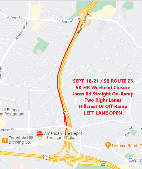 REMINDER: 58-Hour weekend closure of ramps and two right lanes from Janss Rd to Hillcrest Dr on Southbound Route 23 in CityofTO begins at 7 p.m. tonight (9/18). LEFT LANE OPEN