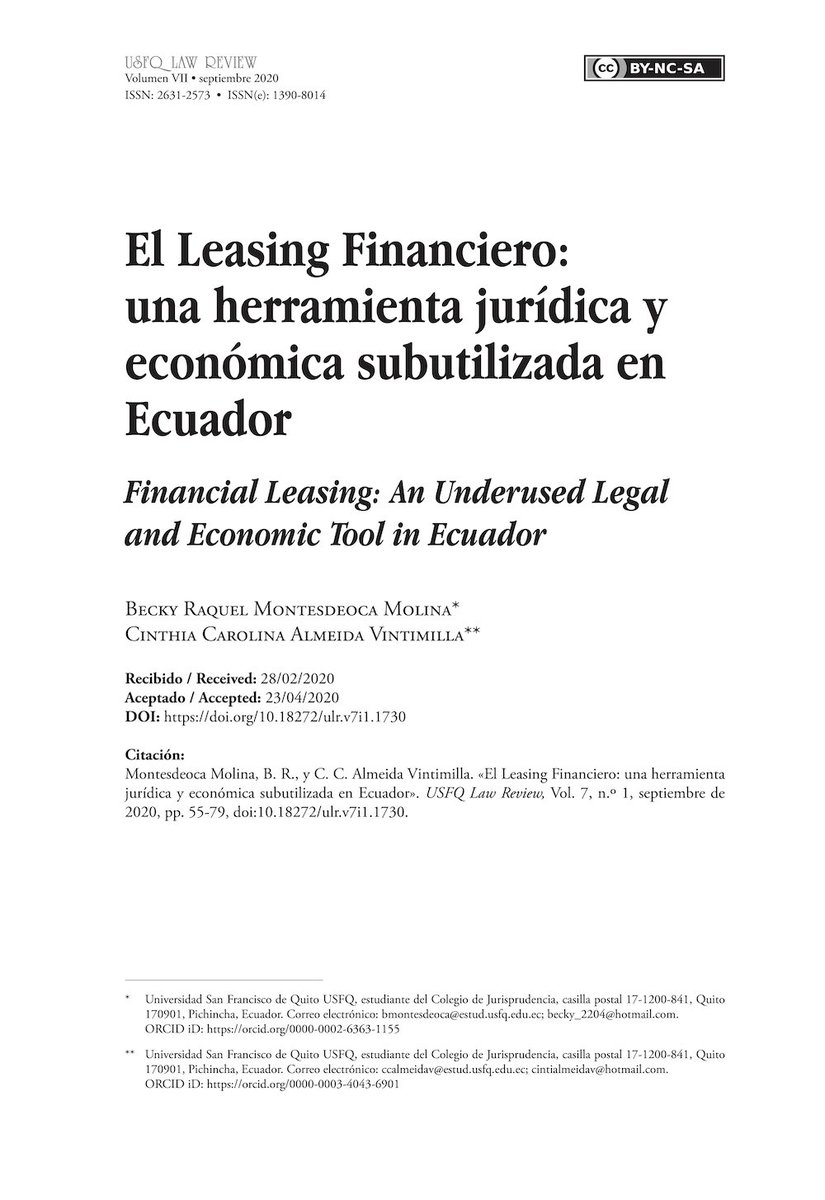 El Leasing Financiero: una herramienta jurídica y económica subutilizada en Ecuador.  DOI: https://t.co/qK3J2Nb30V https://t.co/afnx9QxZNu
