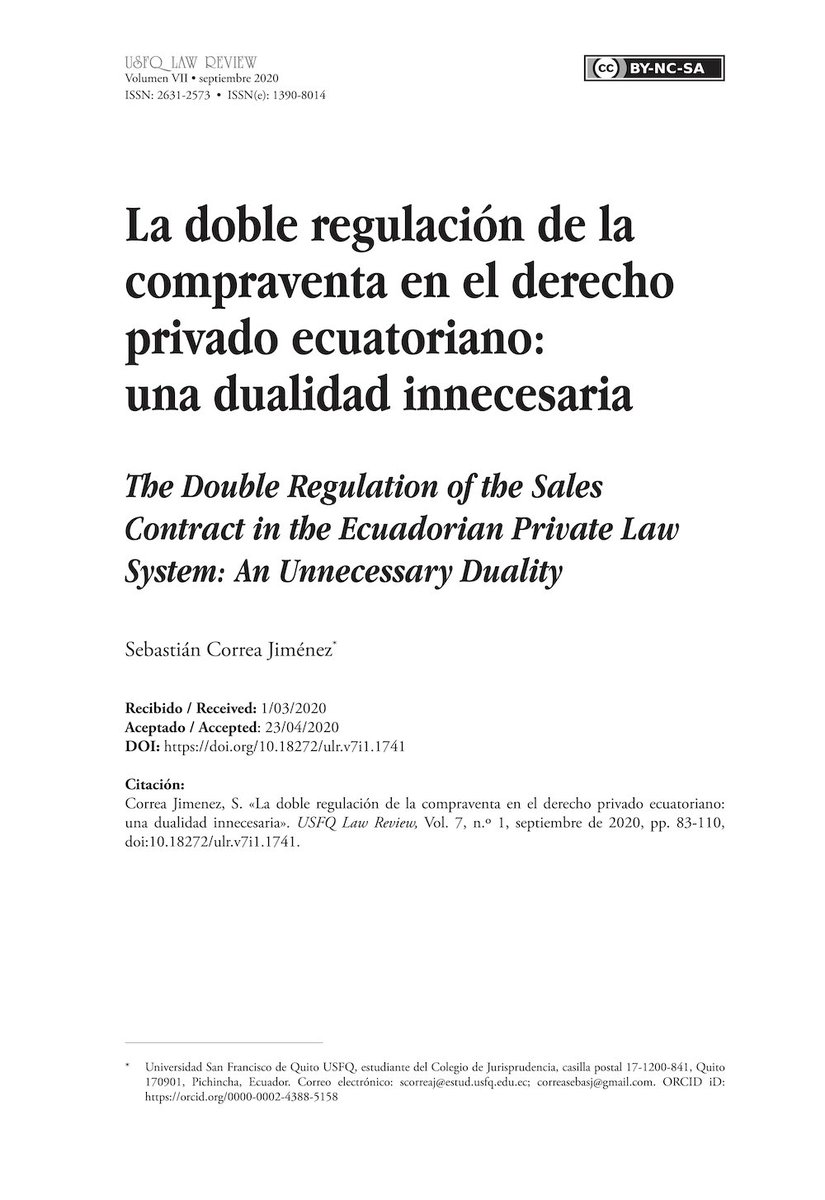 La doble regulación de la compraventa en el derecho privado ecuatoriano: una dualidad innecesaria.  DOI: https://t.co/LPRp8rWMDB https://t.co/Nk47yGHF22