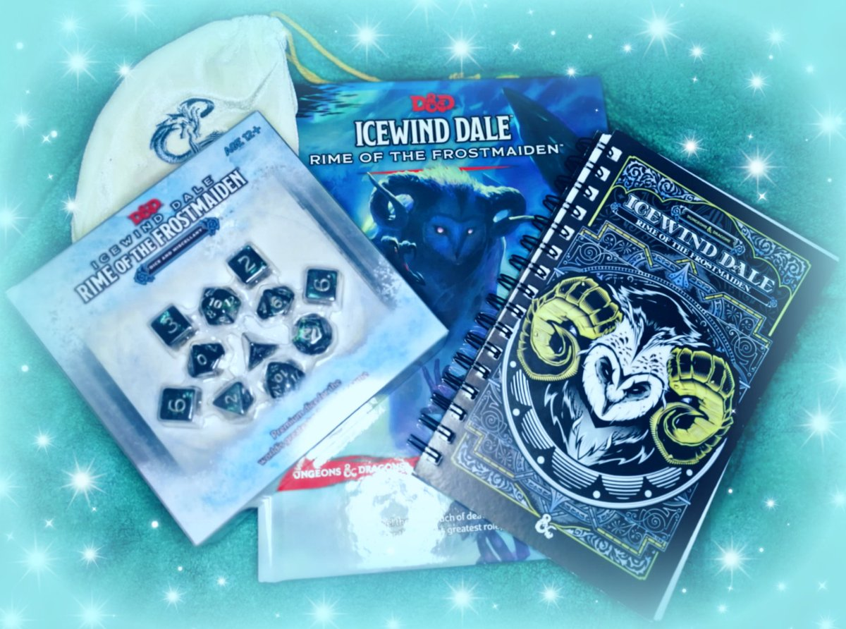 ❄️✨ G I V E A W A Y✨❄️  Not got your copy of #IcewindDale yet?? TAKE OURS! 🥳🤩😍  Includes @Wizards_DnD ❄️Rulebook! ❄️Dice set! ❄️Notebook! ❄️D&D dice bag!  🔥bonus Descent into Avernus dice!!🔥  😲😲😲🤯  Follow and RT to enter by 30 Sept 12pm EST  #DnD #Giveaway #Free #win https://t.co/GszHX34Sc6
