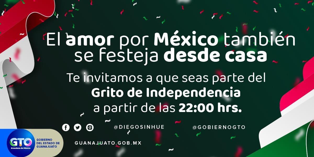 🇲🇽Te invito a que me acompañes a dar el Grito de Independencia desde tu hogar, en la transmisión #EnVivo, por medio de nuestras redes sociales a partir de las 22:00 hrs. Que retiemble el corazón de nuestra patria al gritar juntos: ¡Viva México! Felices #FiestasPatrias2020🎉🎊 https://t.co/J4XGj9s1OL