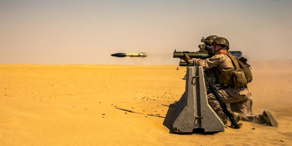 Desert Days Marines with @SPMAGTF_CR_CC fire an M72A7 Light Anti-Tank Weapon System in Kuwait during training focused on integrating anti-armor capabilities at the platoon level.