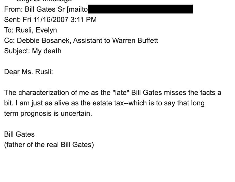 """Sad to hear of the passing of Bill Gates Sr. As a cub reporter at @Forbes I made the horrifying error of writing about """"the late"""" Bill Gates Sr. in an article, which he promptly and humorously corrected via email.A classy and witty soul, condolences to @BillGates and his family❤️ https://t.co/Dq3pJwDD0M"""