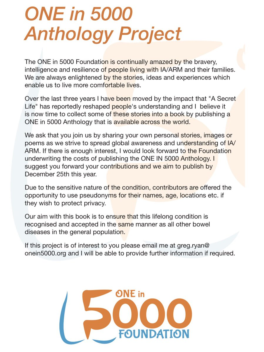 """@ONEin5000 are excited to announce the """"ONE in 5000 Anthology Project"""" as per the below document. Our aim is to publish a book which will feature personal stories from anyone in the global IA/ARM community (kids, teens, adults, parents, family member's & medical professionals). https://t.co/OyR50lWuxf"""