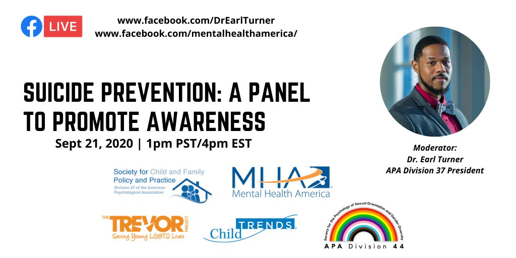 Join us next week! Thanks to @MentalHealthAm @TrevorProject @ChildTrends @Div44APA for working with me as part of my @Division37ofAPA presidential initiatives for this important discussion.   #SuicidePrevention https://t.co/CCpu86EcKh