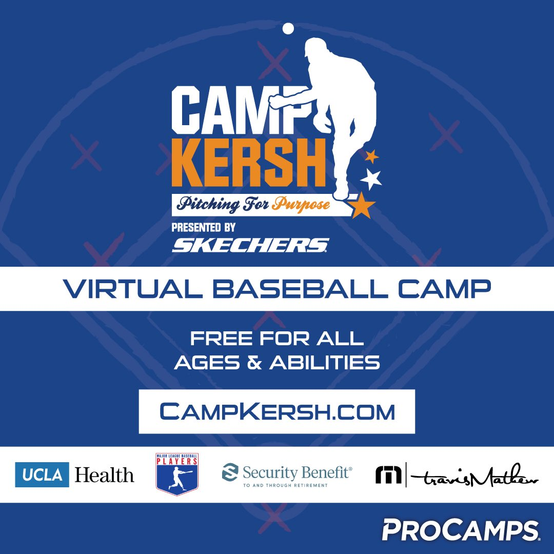 I'm proud to announce Camp Kersh: Pitching For Purpose! Our virtual pitching camp is 9/21 and is free to all Little League and High School aged baseball players: https://t.co/9p4J1KN7mL. Special thanks to our sponsors: #Skechers #UCLAHealth #SecurityBenefit #TravisMathew https://t.co/ugyWn1xT4c