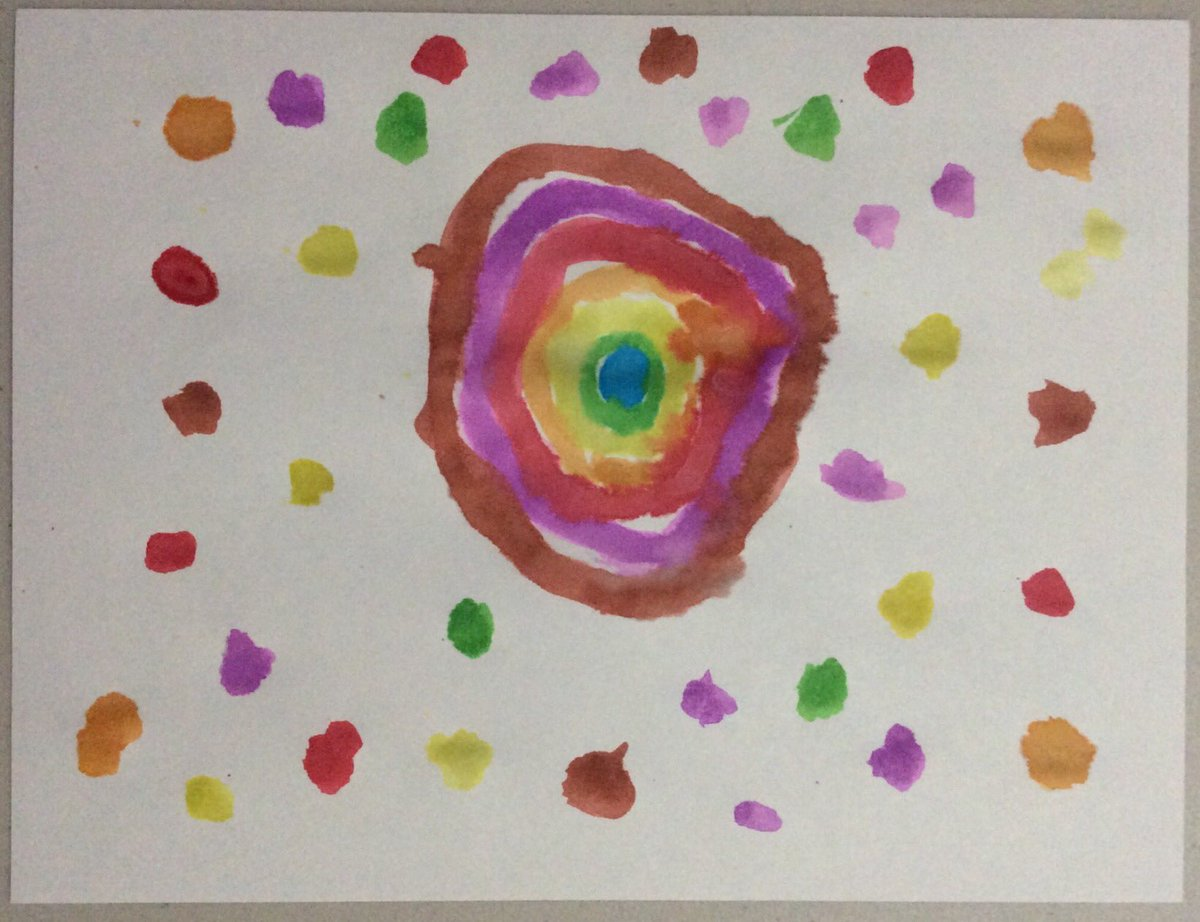Happy #DotDay2020 🟠🟡🟢🔵🟣🔴 First graders wrote about how they'll make their mark, then painted 🎨 these creative dots. On Thursday we'll do @hayes_melisa STEM activity to make frames 🖼 for their dot paintings. #remotelearning #BPSLearns https://t.co/3B0cEmdJde