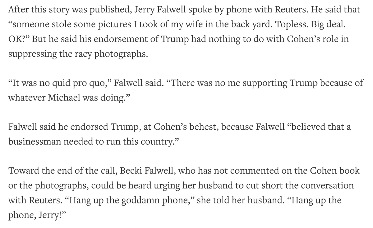Jerry Falwell Jr told @Reuters that his endorsement of Trump had nothing to do with Michael Cohen's role in suppressing the racy photographs, contradicting Cohen's account in his new book.   Read the full story: https://t.co/igrjd23Xxn https://t.co/zHse0fnRPh