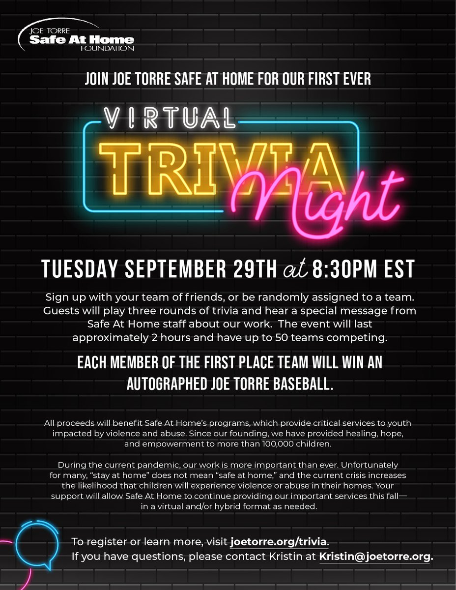 Are you a #trivia buff? A @Yankees fan? Join Safe At Home for our virtual trivia night on 9/29. Members of the 1st place team win an autographed @JoeTorre baseball. Youll have a great time, and support a great cause. Register at joetorre.org/trivia