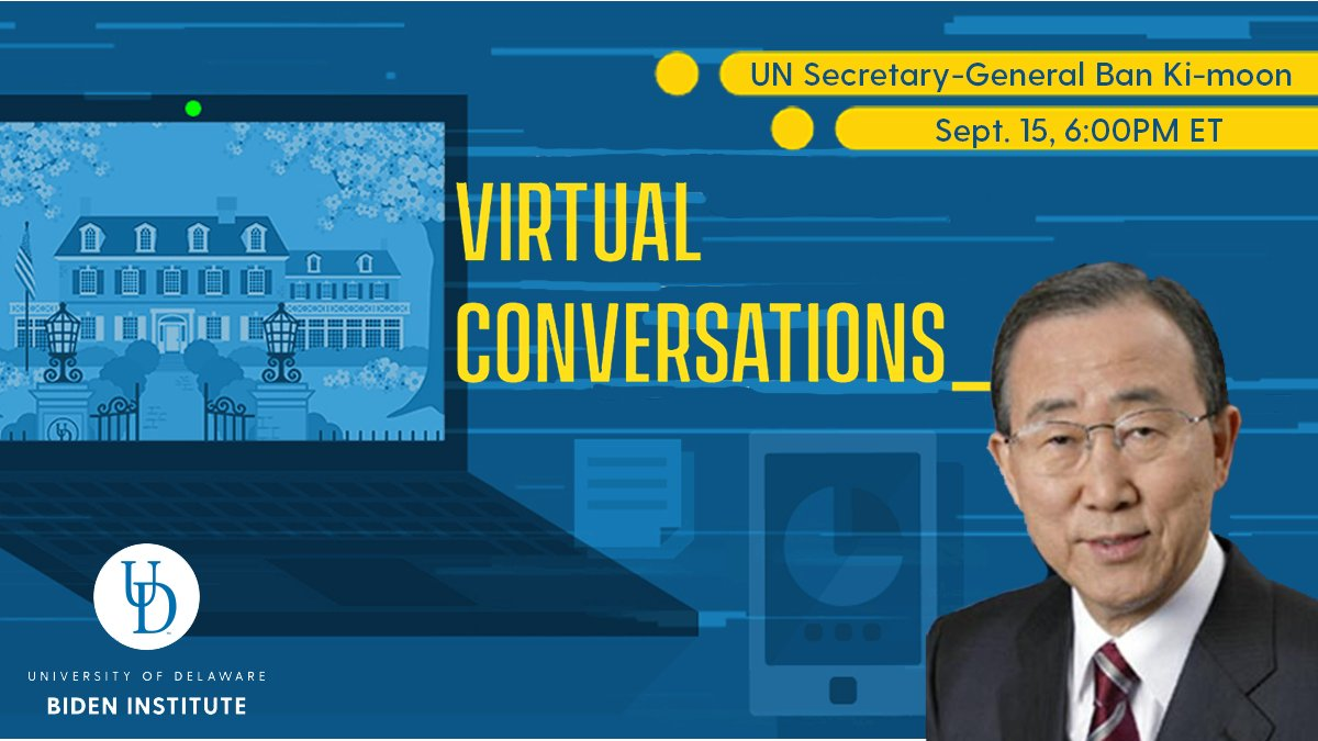 Only one week away! Dont miss out. Were honored to be joined by 8th Secretary-General of @UN Ban Ki-moon for a conversation on international affairs with our Vice Chair Valerie Biden Owens. 📅Sept 15, 6:00PM ET 📍Register Here: mailchi.mp/udel/bankimoon…