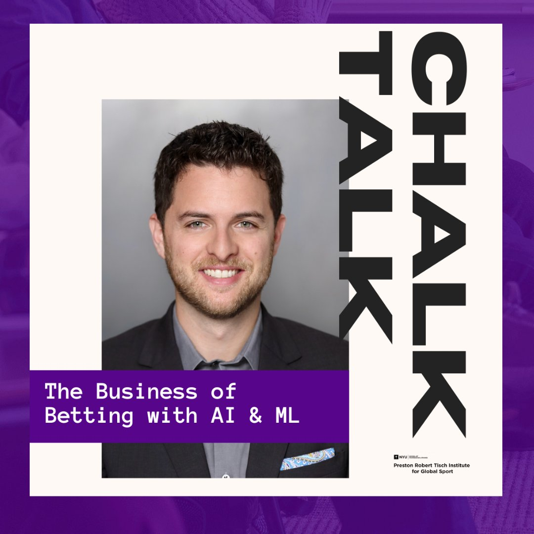A quick reminder that, as part of the @nyutischsports Fall 2020 Chalk Talk Series, @TMHayduk and @LloydDanzig  will be talking all things ML/AI in the context of sports betting. Join us tomorrow at 5P ET!  . Open registration here: https://t.co/t8S3L844mU https://t.co/o9UaHpKMgi