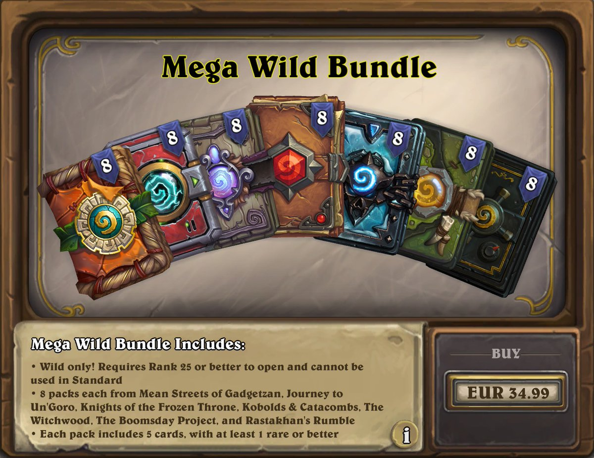 Hs Top Decks On Twitter Mega Wild Bundle Is Now Available Grab 56 Packs From The Last 7 Expansions Which Rotated Out To Wild For 34 99 34 99 The Bundle Is Available