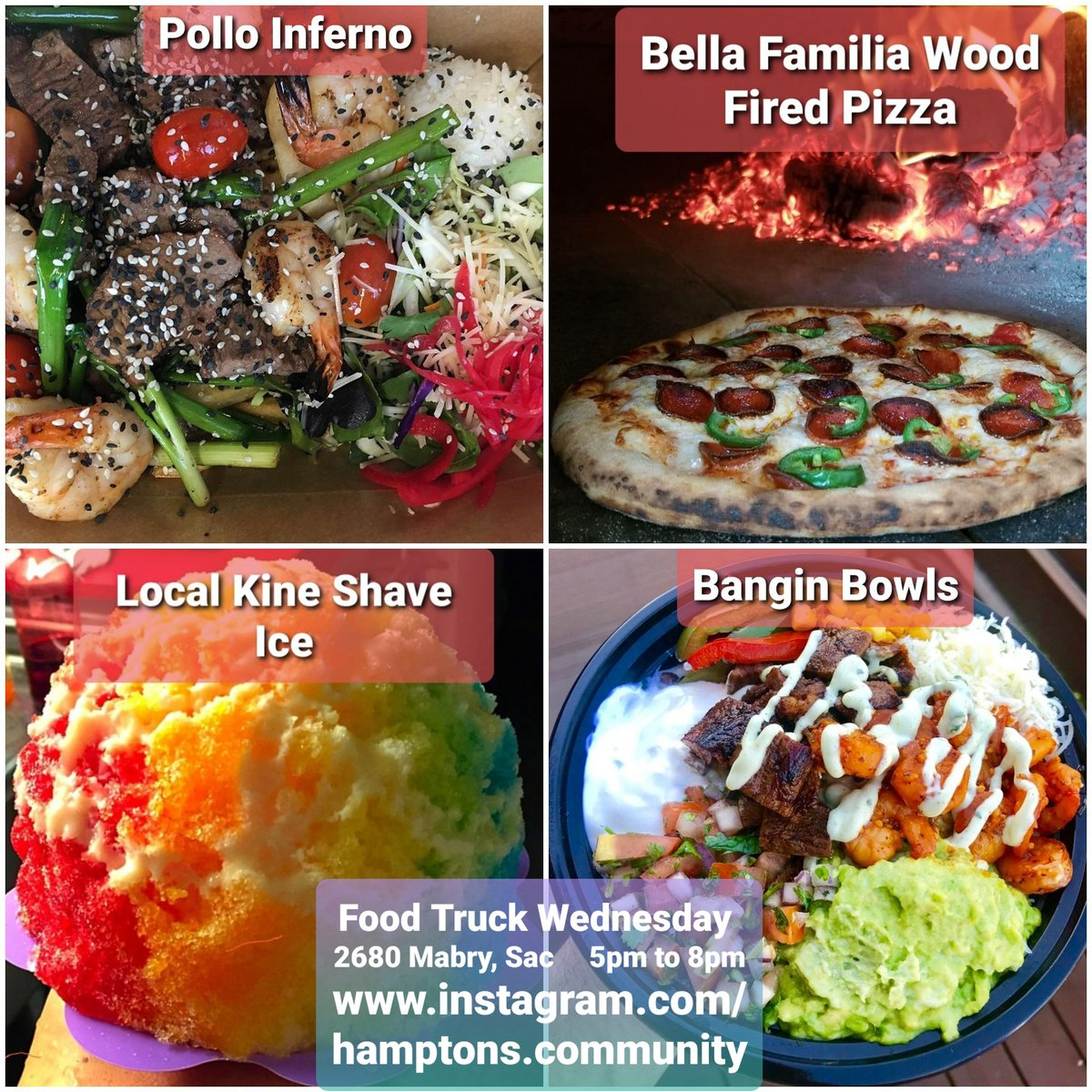 FOOD TRUCK WEDNESDAY   Bangin Bowls https://t.co/p9Z4qw8w2G  Bella Familia Wood Fired Pizza https://t.co/Jb2apxDvwn  Local Kine Shave Ice1 https://t.co/gi0v3M4pvX  Pollo Inferno https://t.co/miEwwh8hKO https://t.co/B1Ckfm4529