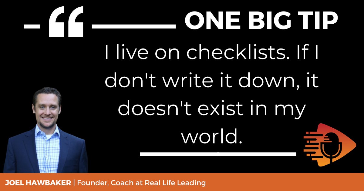 Life coach Joel Hawbaker's #OneBigTip for staying organized is to use a daily checklist to keep track of your tasks to complete. Listen to the podcast below to learn how to manage the tasks that you have with your current level of motivation. https://t.co/hSSsvC67xV #workfromhome https://t.co/lYlWYJQIsT