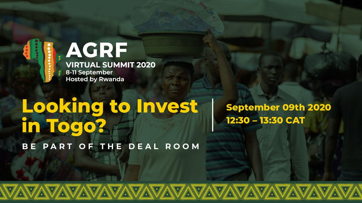 Participate in this session whose key focus will be to attract international investors to key export-focused value chains and high potential SMEs in #Togo targeting Mango, Cashew, and Organic Soy by registering for the Agribusiness #DealRoom at https://t.co/Y2tnR44pje. #AGRF2020 https://t.co/h8fUw0s1Pi