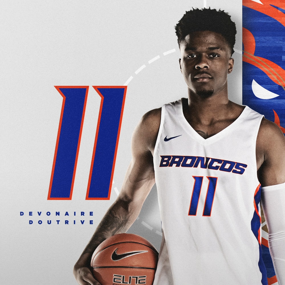 "Another new number for another Bronco who joined us midway through last year. Devonaire Doutrive will rock 11 as an ode to the past. 📏 65"" / 185 lbs 🏀 Junior / Guard 🌎 Dallas, Texas 🏫 Arizona #BleedBlue"