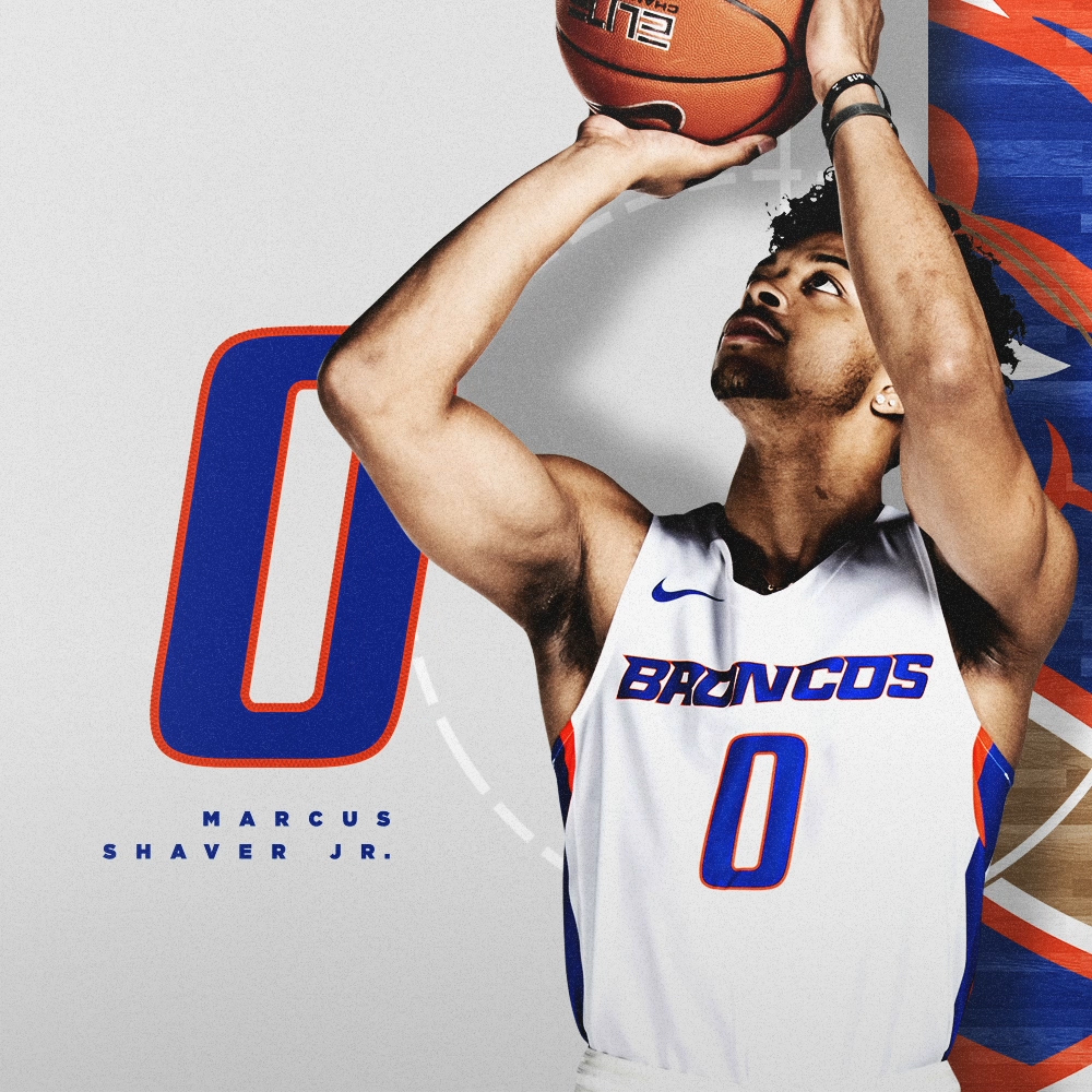 "The number 0 has been a staple in the Bronco backcourt the last few seasons. Marcus Shaver will continue the trend this year, carrying with it a championship pedigree. 📏 62"" / 185 lbs 🏀 Junior / Guard 🌎 Phoenix, Ariz. 🏫 Portland #BleedBlue"