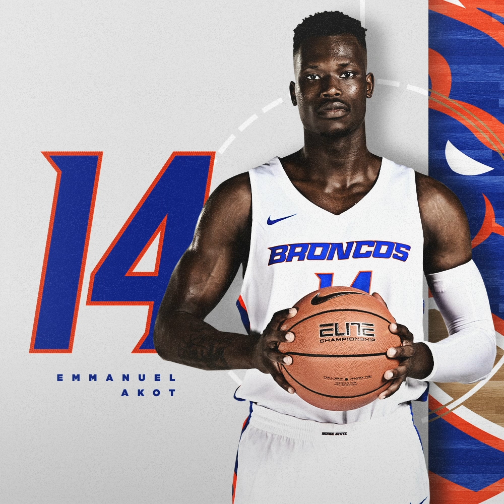 "The buckets will continue. Emmanuel Akot is ready to get on the floor for the Broncos! 📏 68"" / 210 lbs 🏀 RS-Junior / Guard 🌎 Winnipeg, Manitoba 🏫 Arizona #BleedBlue"